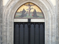 The door at Castle Church where Martin Luther nailed his 95 Theses.